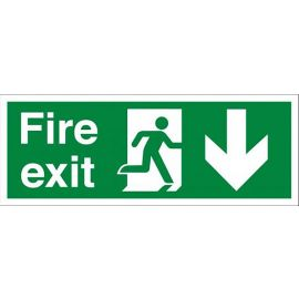 Fire Exit Signs Sticker Arrow Down